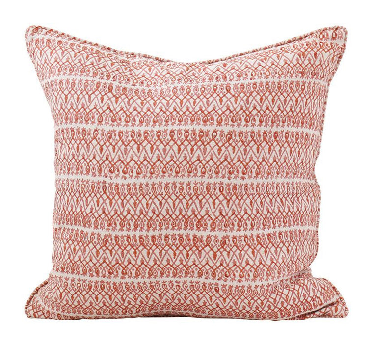BABYLON GUAVA LINEN BLOCK PRINT CUSHION