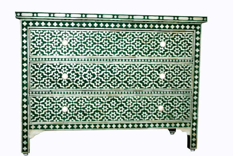 BONE INLAY 3 DRAWER CHEST / EMERALD