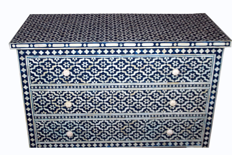 BONE INLAY 3 DRAWER CHEST / NAVY