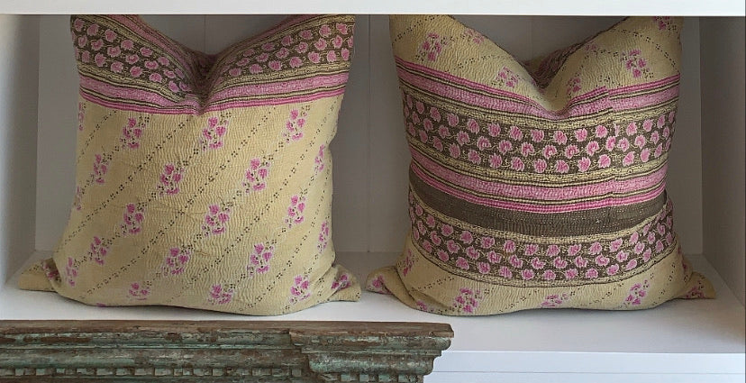 KANTHA CUSHION | PINK BIEGE