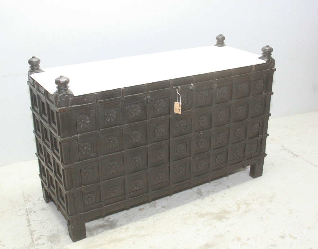 VINTAGE INDIAN PITARA BOX W MARBLE TOP