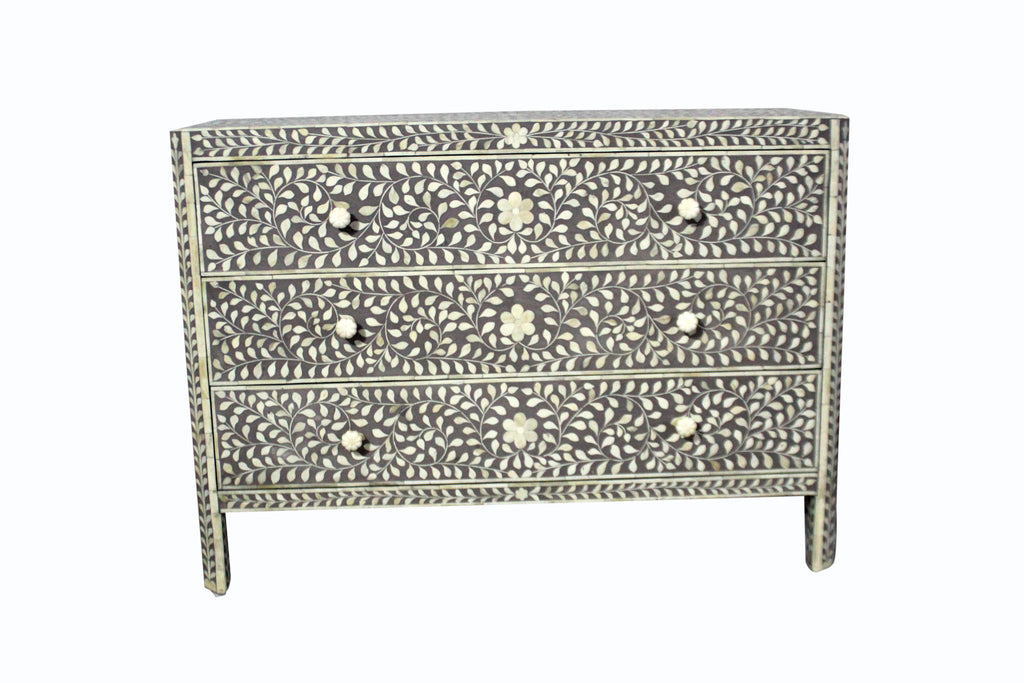 BONE INLAY 3 DRAWER CHEST / GREY