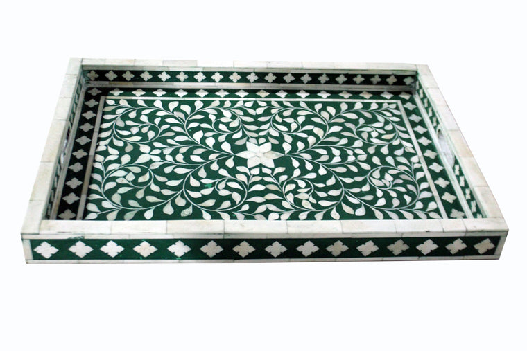 BONE INLAY TRAY / EMERALD