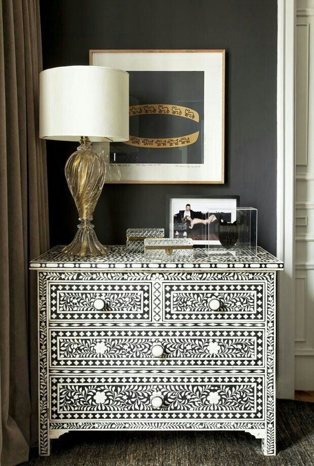 BONE INLAY 4 DRAWER CHEST / BLACK