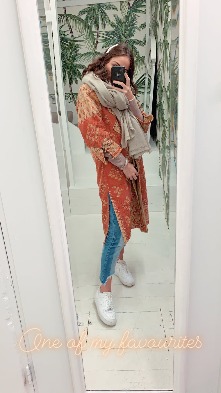 KANTHA COAT / ORANGE
