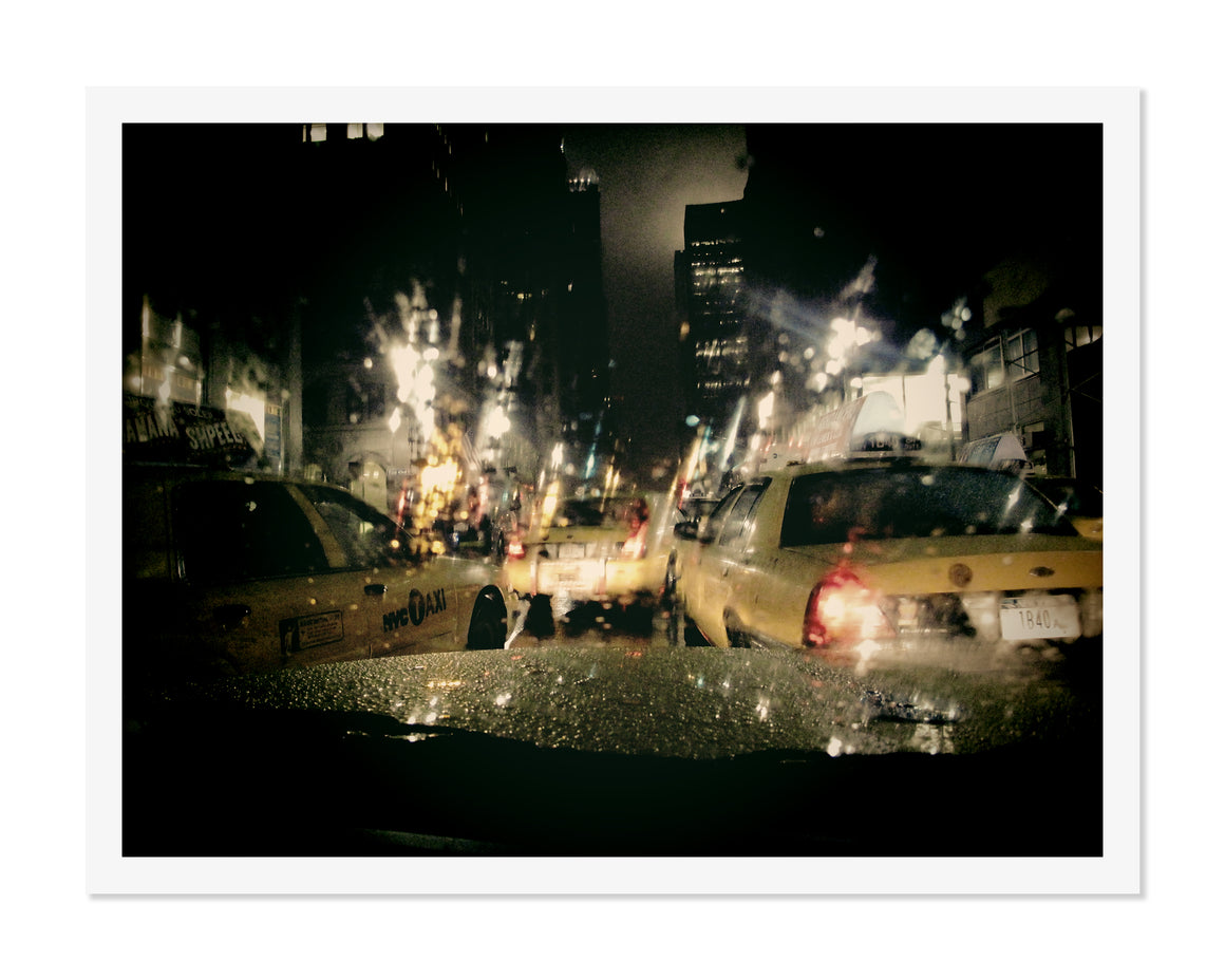 PRE-FRAMED MIDTOWN NIGHT TAXI NYC 16x20
