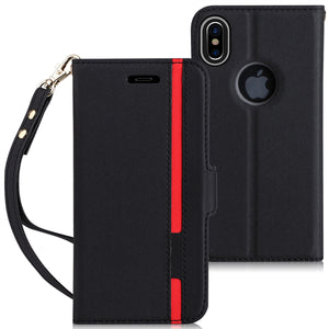 Premium Leather iPhone X wallet case with Hand Strap and Kickstand Function - CanaRama