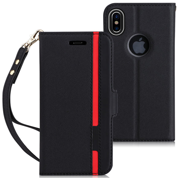 Premium Leather iPhone X wallet case with Hand Strap and Kickstand Function