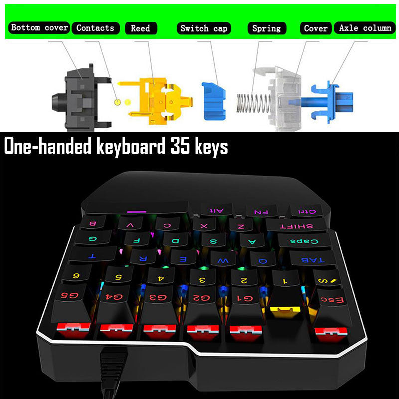 One-Handed Mechanical Gaming USB Keyboard with 35 KEYS - CanaRama
