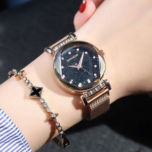 Luxury Crystal Quartz Ladies Watch with magnetic band - CanaRama