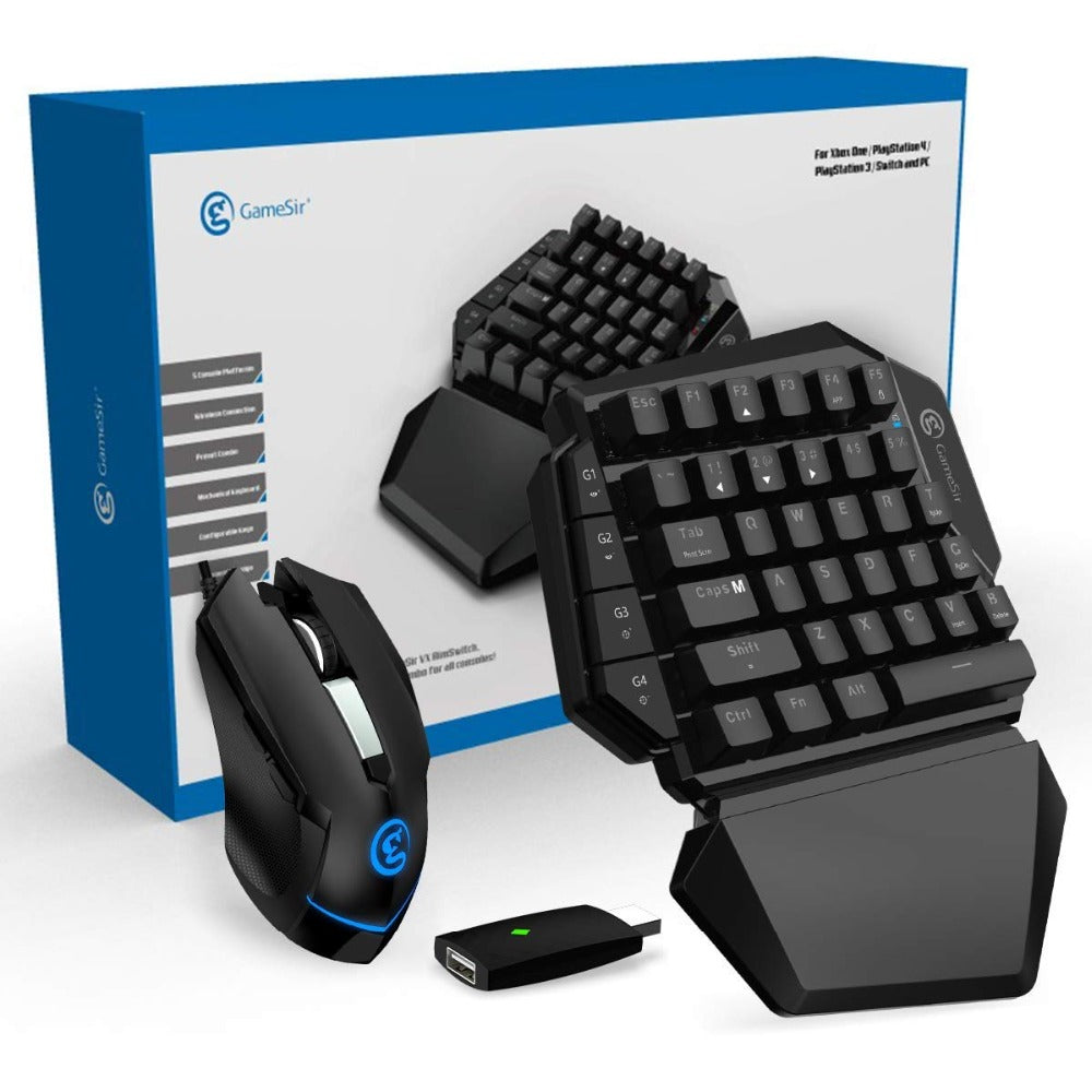 Gaming keyboard and mouse with adapter for PS4/PS3/Xbox One/Nintendo Switch/PC | Target aims accurately with Gamesir AimSwitch