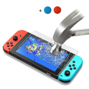 Premium Tempered Glass Screen Protector & thumb sticks for Nintendo Switch