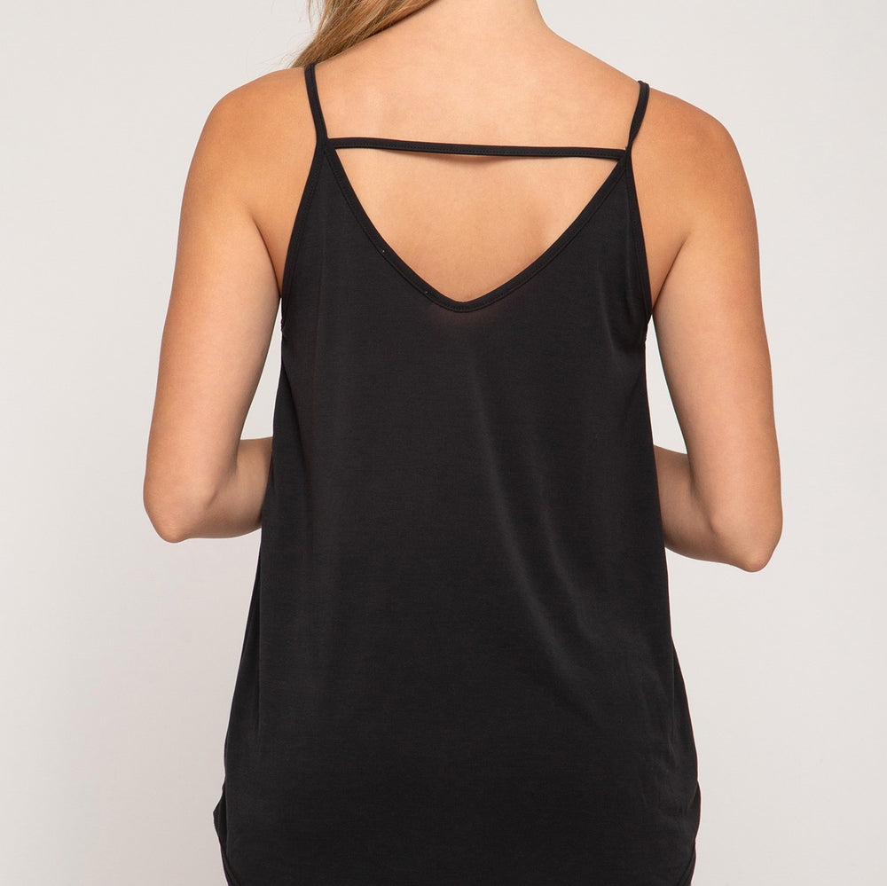 Caili Modal Front Twist Cami Top - Black