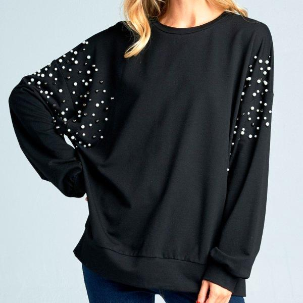 Madeline Pearl Studded Black Pullover Top