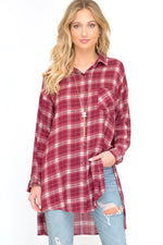 Fallon Red Flannel Button Down Shirt Full Front Image