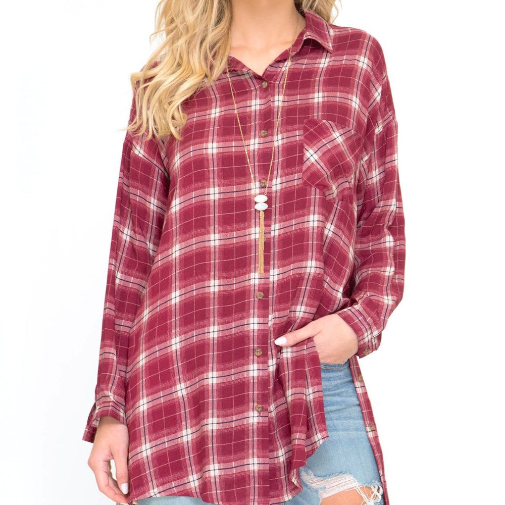 Fallon Red Flannel Button Down Shirt Front Image