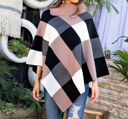 Harlowe Neutral Plaid Poncho