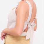 Caroline Linen Top with Bow Detail