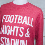 Football Nights & Stadium Lights - Oversized Ribbed Vintage-Washed Crew