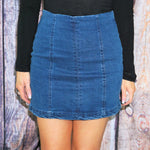 Paris High Waisted Panel Denim Mini Skirt