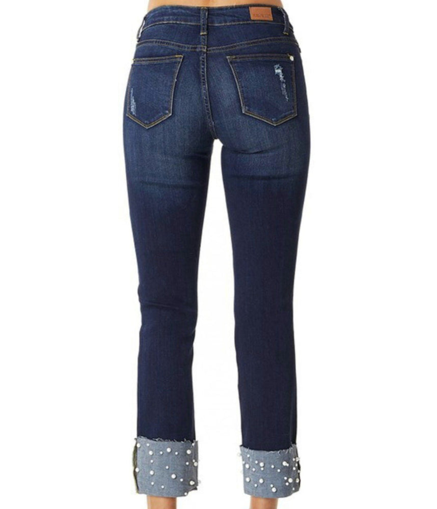 Pippa Cuffed-in-Pearls Straight Leg Jean