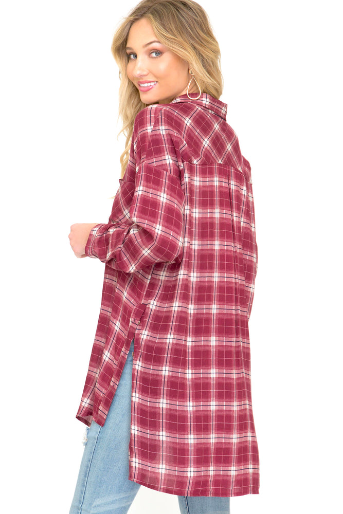 Fallon Red Flannel Button Down Shirt Back Image