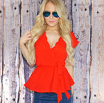 Cindal Scalloped Neck Peplum Top