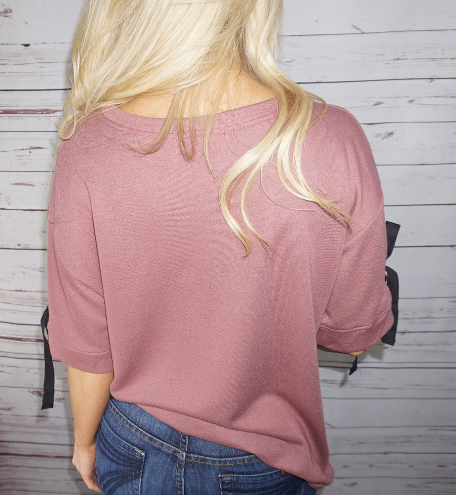 Marsala Twill-Tape Detail Top