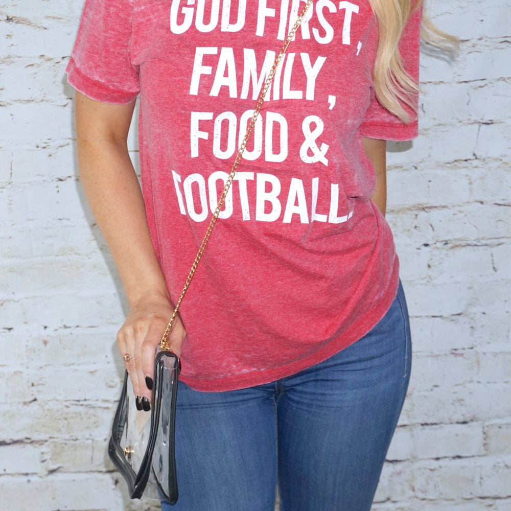 God First, Family, Food & Football - Red Acid-Wash Tee
