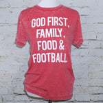 God First, Family, Food & Football Tee Front Image