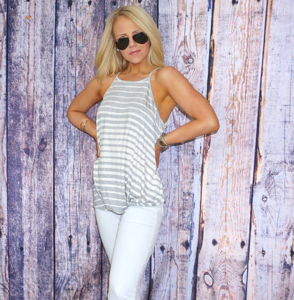 Piper Striped Twisted Hemline Top
