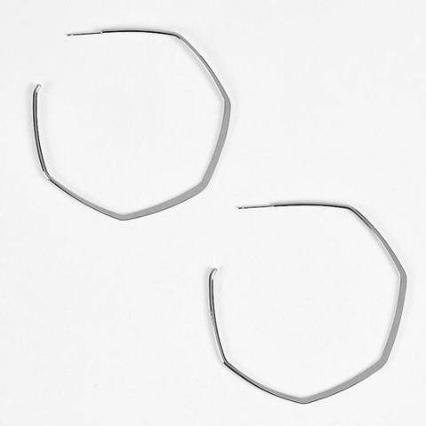 Dorothy Geometric White Gold Hoops