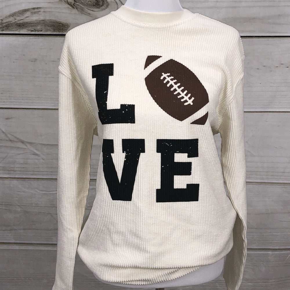 Football Love - Oversized Ribbed Vintage-Washed Crew