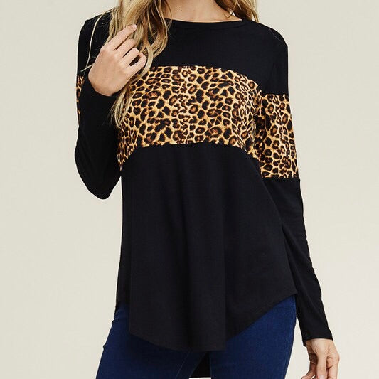 Maven Long Sleeve Animal Print Top