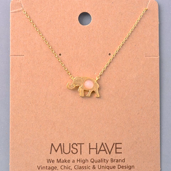 Ellie Gemstone Elephant Pendant Necklace