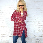 Fallon Red Flannel Button Down Top