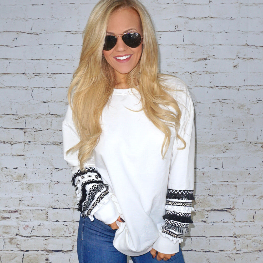 All the Frills White Pullover Top