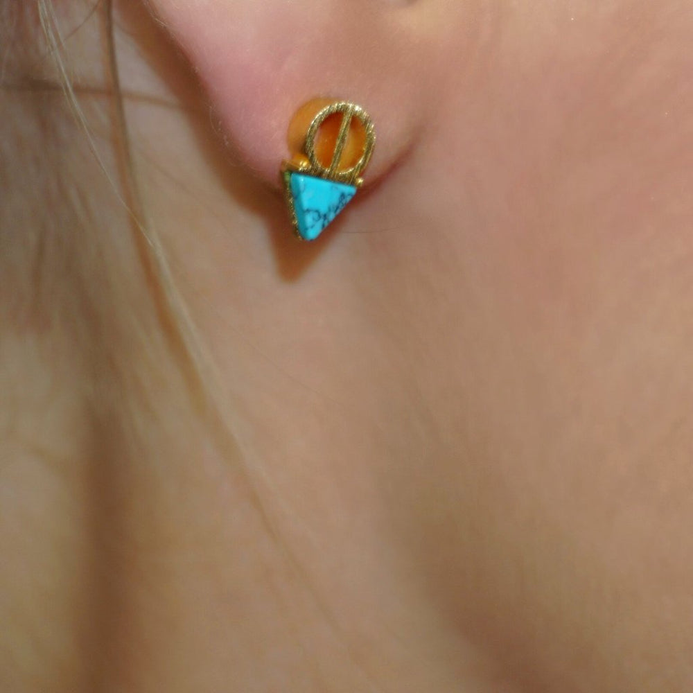 Erica Gold & Turquoise Stud Earrings