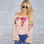 Miley Floral Crushed Velvet Top