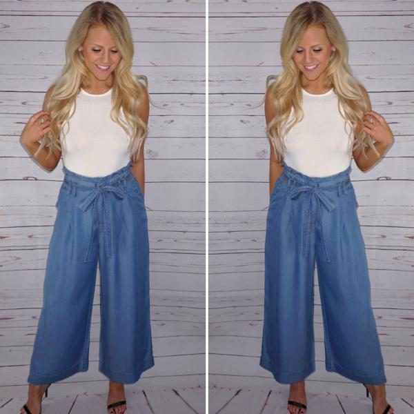 Cadence Denim Crop Trousers