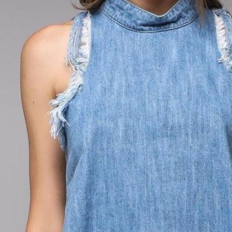 Tinsley Frayed Denim Halter Top Up Close