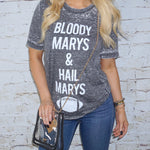Bloody Marys & Hail Marys Gray Acid-Wash Tee