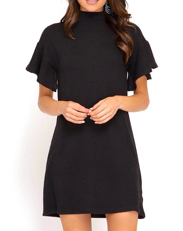 Noelle Flounce Sleeve Sweater Dress