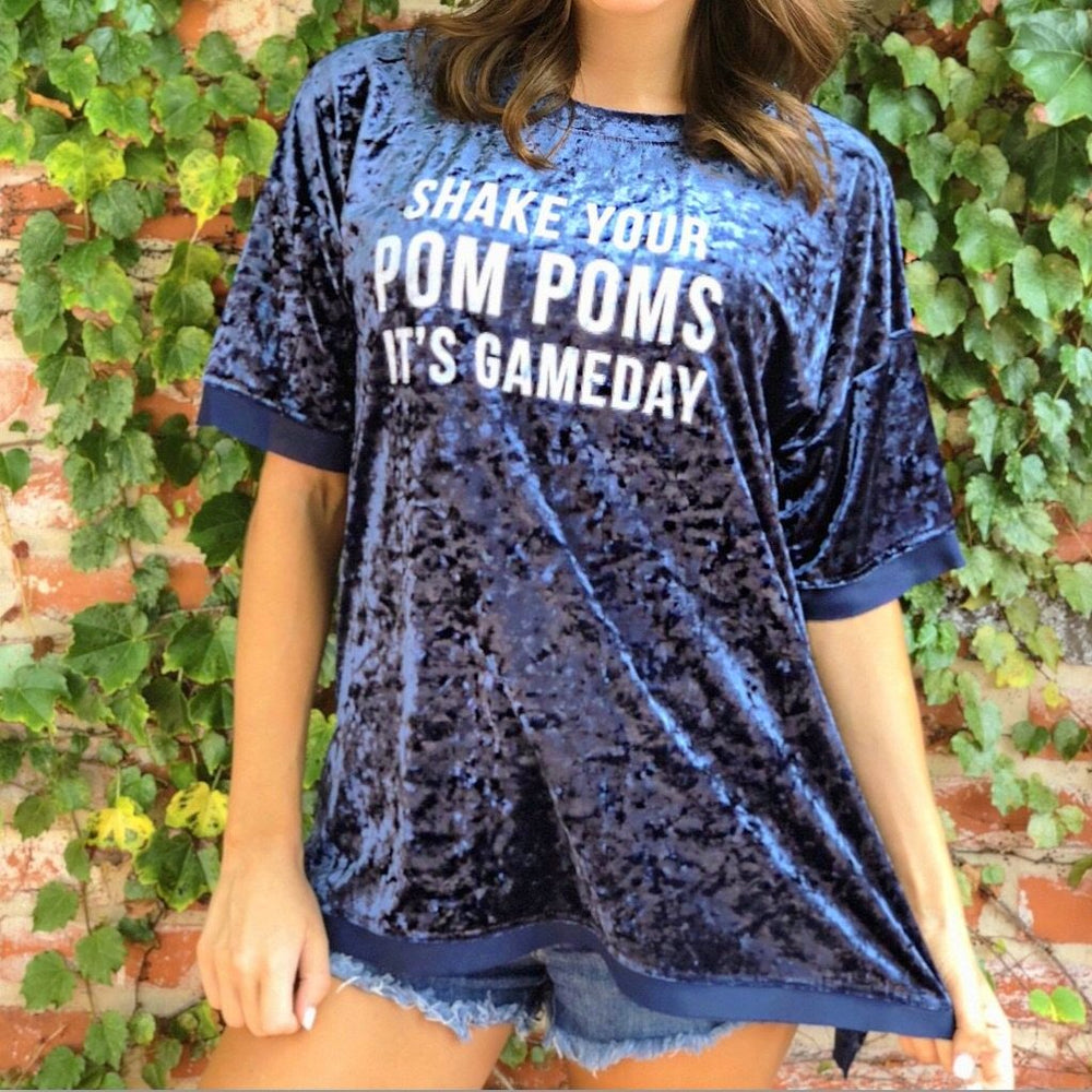 Shake Your Pom Poms It's Gameday - Crushed Velvet Navy Top