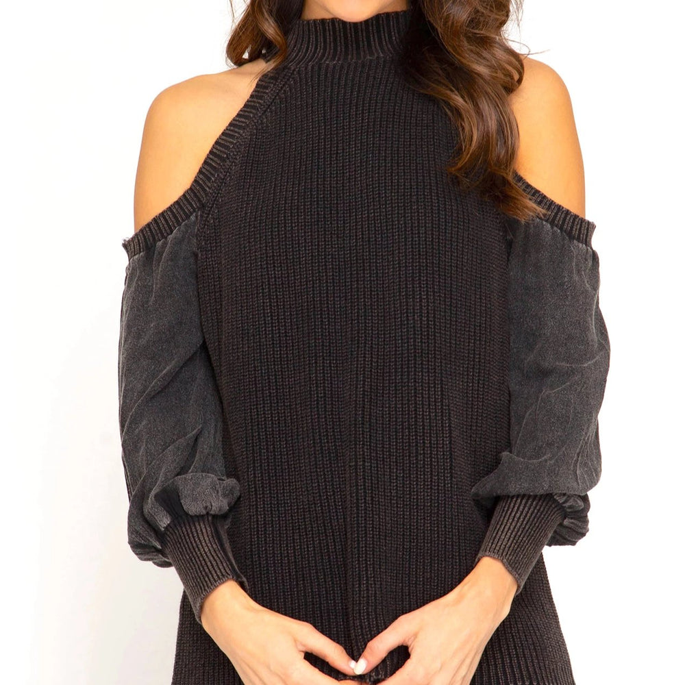 Mason cold shoulder sweater black front image full