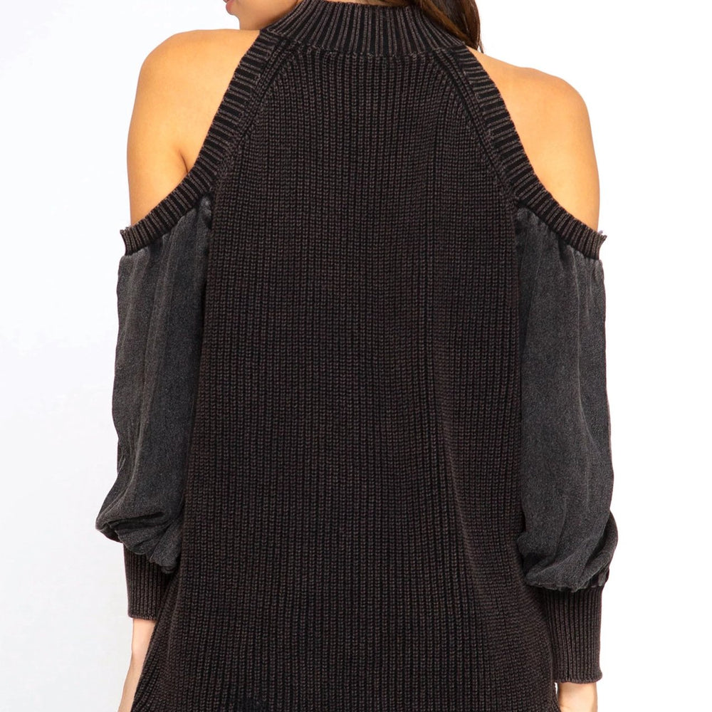 Mason cold shoulder sweater black back image
