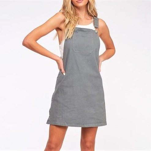 Mitzi Dungaree Mini Dress - Grey