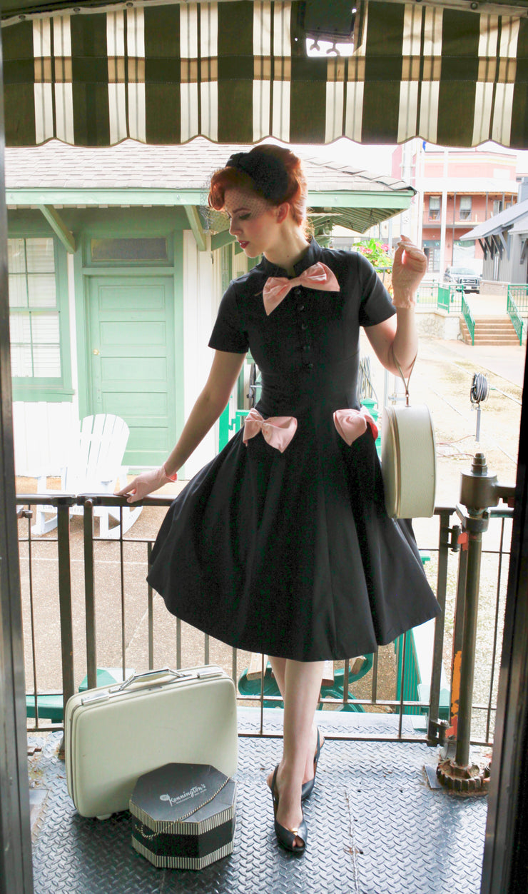 The Lyze Black Bow Vintage Dress