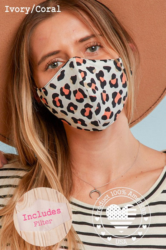 PREMIUM Coral Leopard Protective Face Mask with Filter