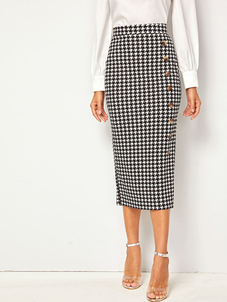 Tanya Houndstooth Pencil Skirt